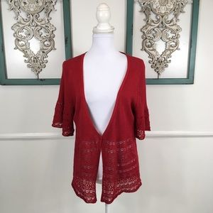 Lane Bryant Red Crochet Cardigan Womens 18/20
